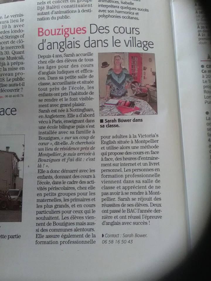 Article du Midi Libre sur Victoria's English à Bouzigues
